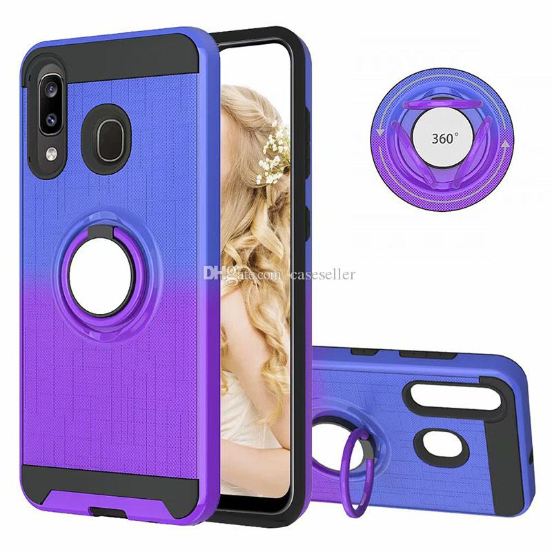 360 Car Holder Finger Ring 2 in 1 PC+TPU Shockproof Hybrid Gradient Cover Case for Samsung A20 A30 A50 A40 A70 A80 A90 A20E
