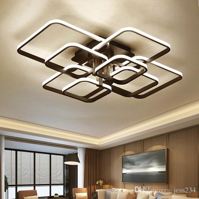 2019 Black Square Modern LED Chandeliers Lighting For Dining Living Room  Bedroom Home Ceiling Decor Lights Fixtures Lamp Lustre From Jess234,  $137.09 ...