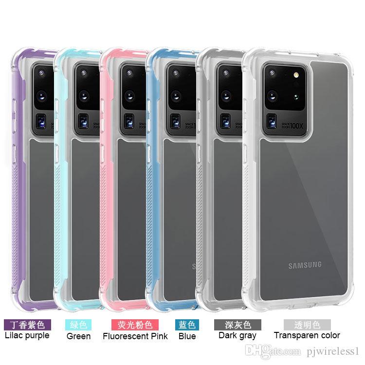 Para Samsung S20 PLUS S20 Ultra 2 em 1 caso telefone Acrílico claro acessórios de telefone celular de Proteção Integral alta elástica anti choque B