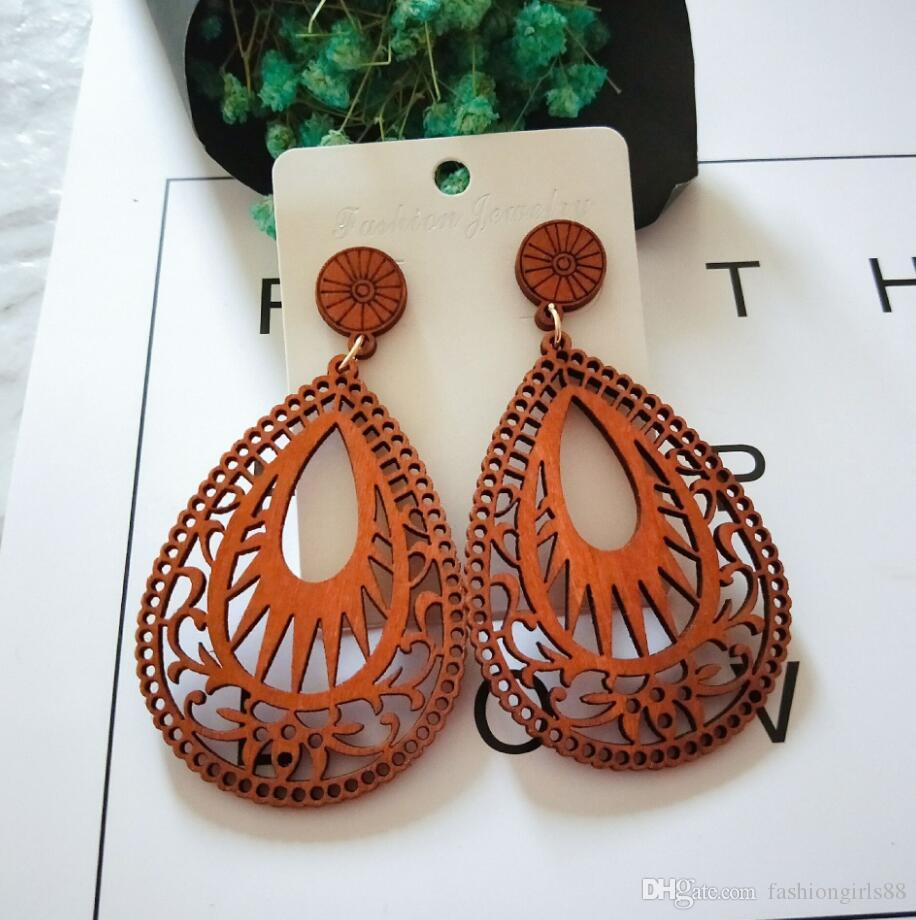 Fashion Water Drop Wooden Hollow Out Pendant Earrings Dangle Teardrop Charm Wood Earring Ear Stud For Women Lady Designer Jewelry Gifts