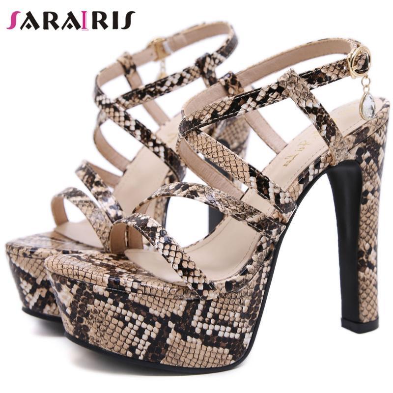 SaraIris plataforma alta Evening Sandals Legal Super Salto Alto Sandálias Mulheres Hot Sale Verão Imprimir sapatas do partido Mulher