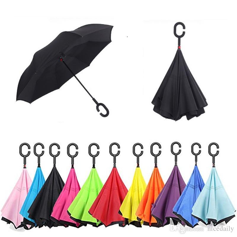 Складной Обратный Зонтик Двойной Слой Перевернутый Ветрозащитный Дождь Зонты Автомобиля УФ-Защита Большой Прямой Зонтик для Дождя Автомобиля Открытый Chandle