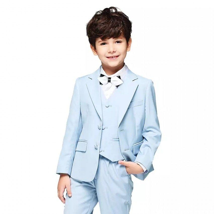 인기있는 라이트 블루 보이즈 정장 OccasionTuxedos 노치 옷깃 두 버튼 키즈 웨딩 턱시도 아동복 (자켓 + 바지 + 타이 + 조끼) 18