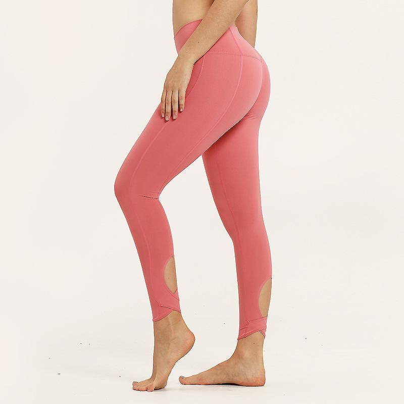 Jin Imitation Cotton Elastic Force Tight Fit Solid Color Peach Hips, Hips, Hips Gao Waist Speed Dry Running Pants Yoga Pants Female