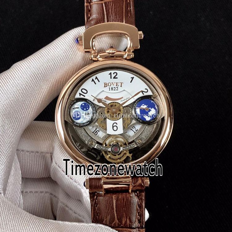 Bovet Amadeo Fleurier Grand Complications Edouard Tourbillon Розовое золото Белый скелетон Швейцарские кварцевые мужские часы Коричневый кожаный ремешок E2b2