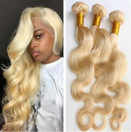 Capelli 10A 613 Biondi Bundles capelli dell'onda del corpo Fasci di trama Capelli biondi di estensioni a buon mercato russo per le donne