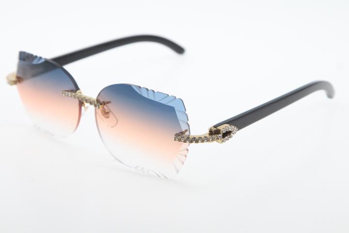 2020 Yeni Satış Büyük Taşlar Rimless 3524012 Siyah Buffalo Horn Gözlük İyi Sun Yüksek Kalite C Dekorasyon Güneş erkek ve dişi gözlük