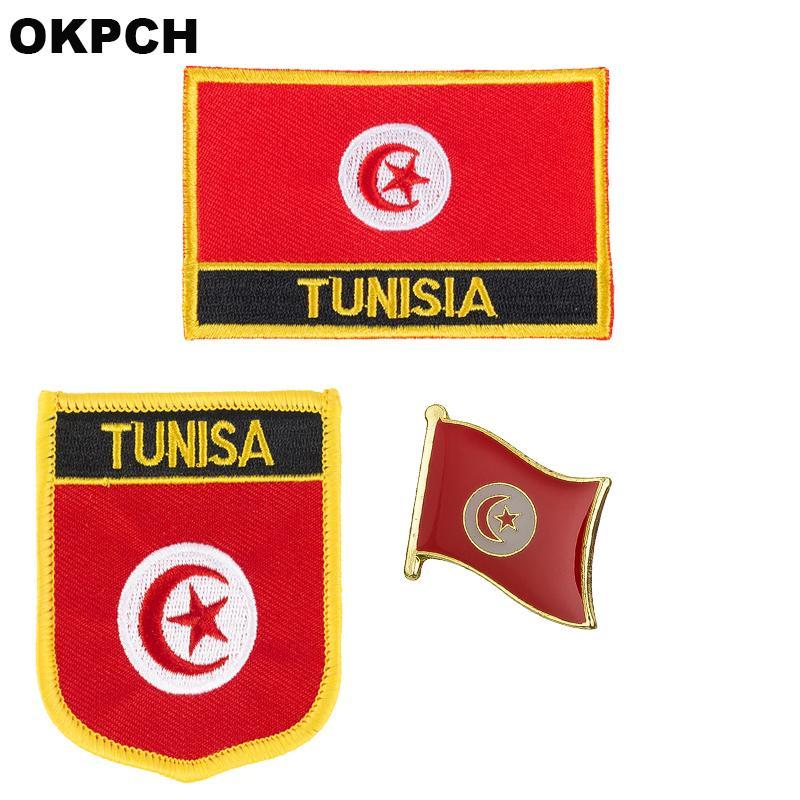 Флаг Туниса патч значок 3шт. Набор патчей для одежды DIY украшения PT0176-3