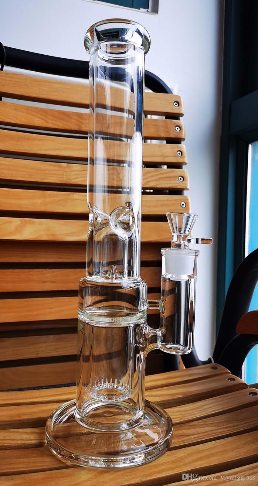Урожай высококачественный 14 дюймов толщиной 7 мм с Perc стекло Bong Water Pipestraight стиль с миской Banger