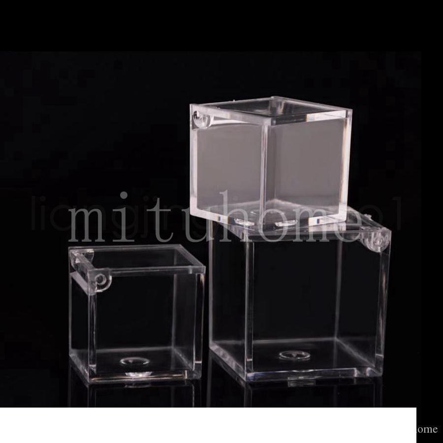 Пищевая экологическая Ясная квадратная пластиковая коробка подарка шоколада конфеты для украшения Рождества дня рождения свадьбы-2 размера