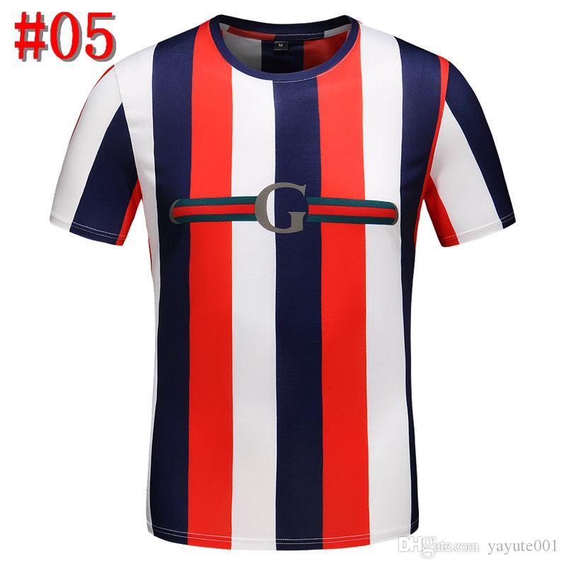 2019 Luxuoso Europa Paris Bordado Contraste patchwork Tshirt Moda Mens Designers T Camisa Casual Homens Roupas de Algodão Tee