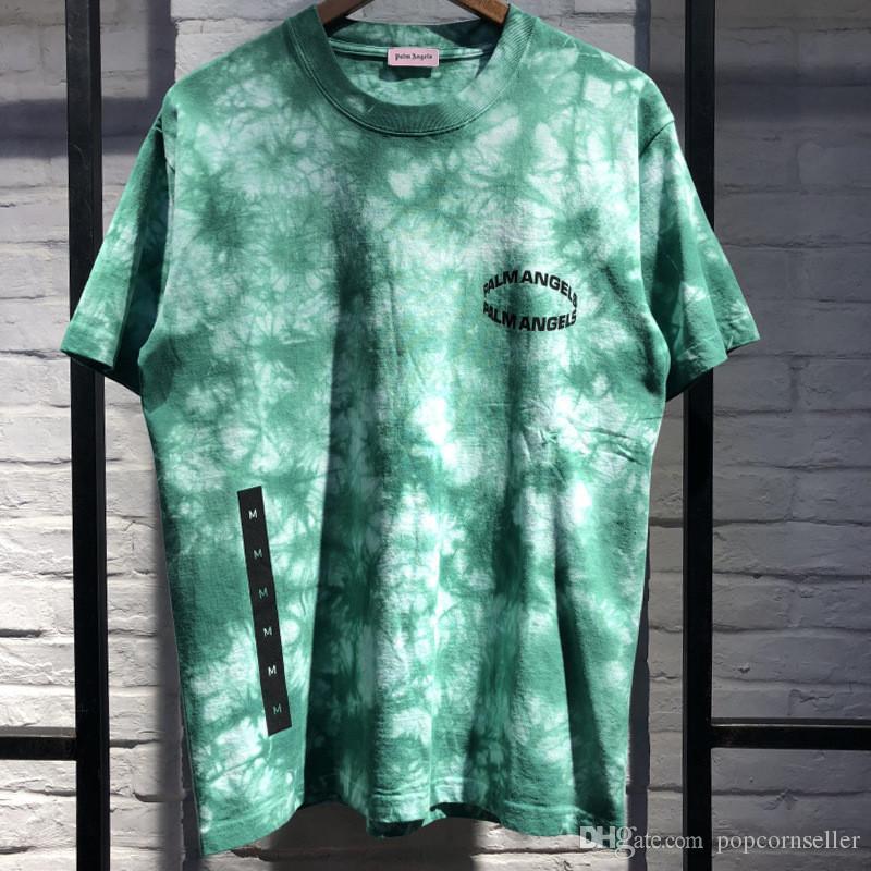 موضة جديدة مصمم رجالي بلايز عارضة تريند التعادل صبغ الطاقم كم قصير كم T-shirt رجل بسيط ملابس