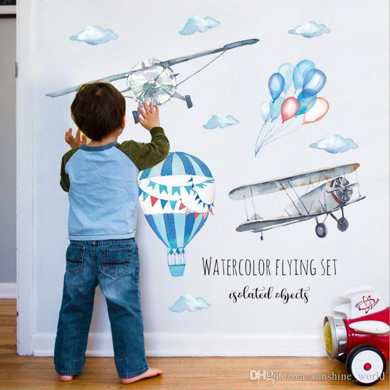 수채화 뜨거운 공기 풍선 비행기 홈 배경 화면 만화 아이 방 보육 벽화 데칼 호텔 벽 스티커 손으로 그린
