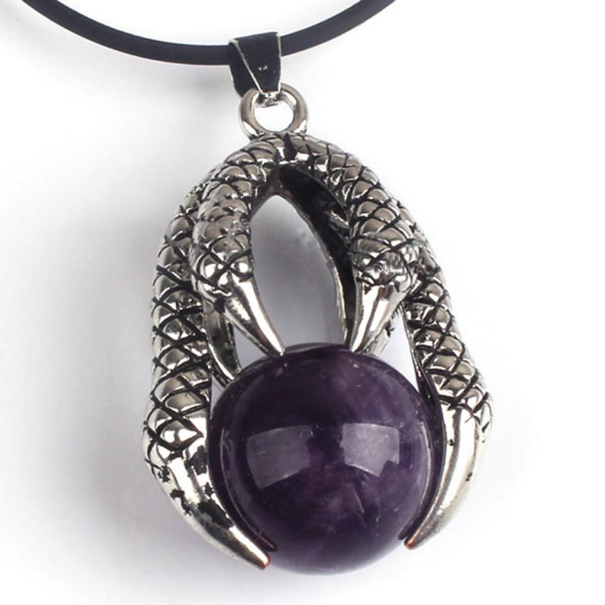 Wholesale 10 pcs Silver Plated Dragon Claw Wrap Tiger Eye Stone Pendant with Rope Chain Black Agate Jewelry