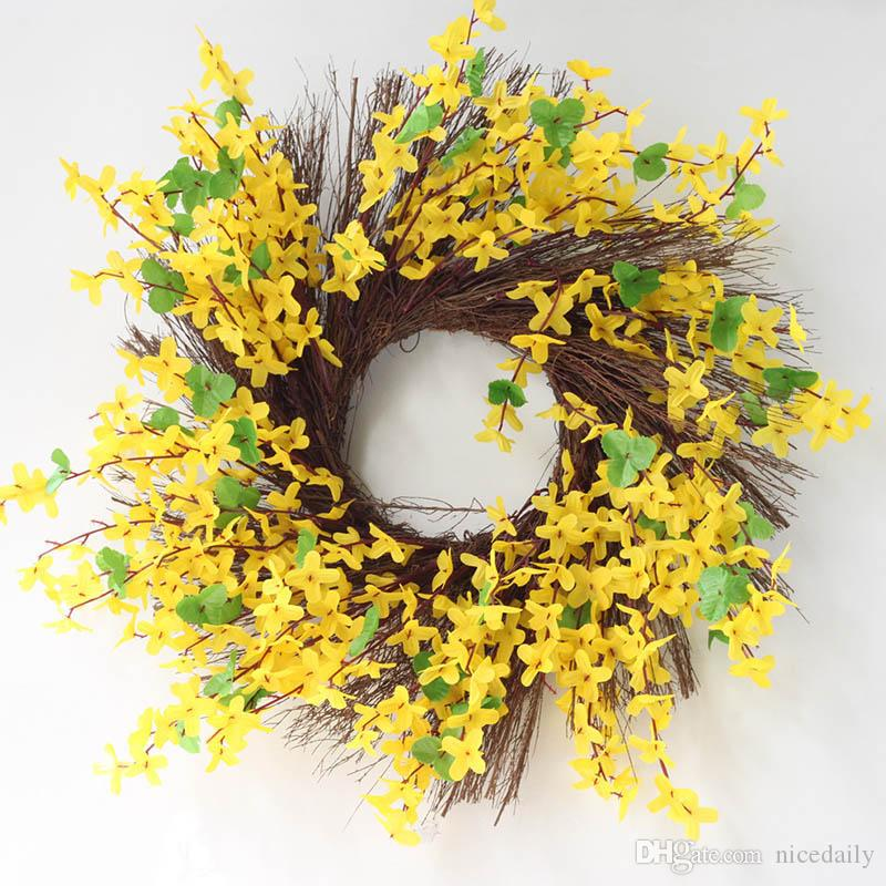 Дверной венок с цветочной веточкой из искусственной гирлянды весны - сезонный дверной акцент для любой комнаты, желтый цвет