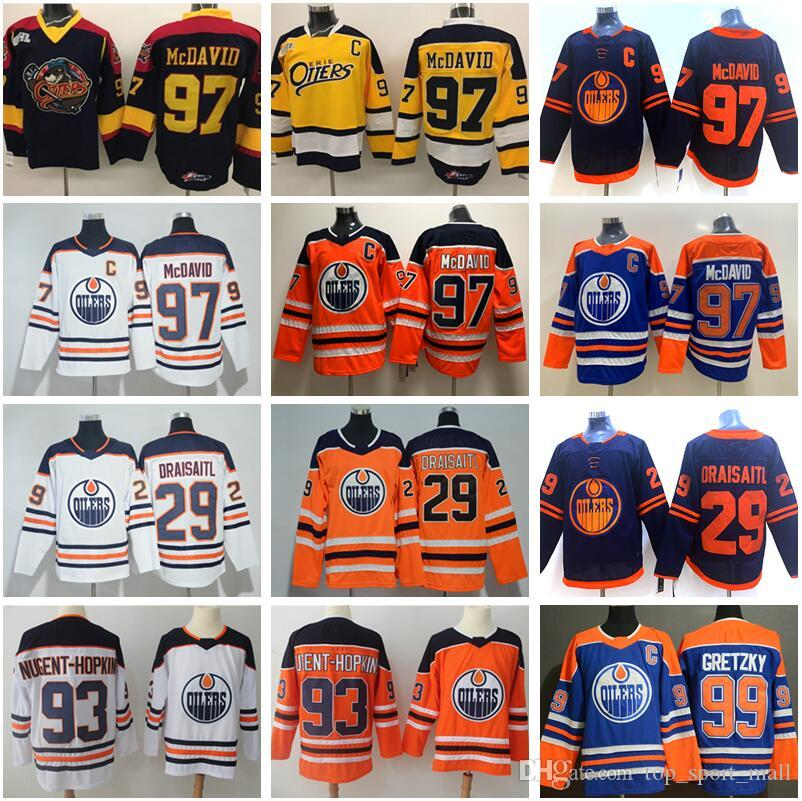 Edmonton Oilers Connor McDavid Jersey 97 College Otters Premier OHL Hockey 29 Leon Draisaitl 93 Ryan Nugent-Hopkins Wayne Gretzky Man Stitch