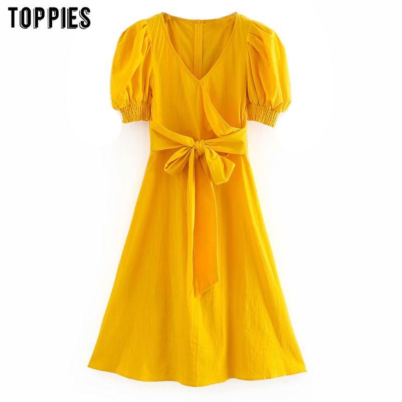 gros jaune robe midi une ligne robe vintage manches feuilletée été womens manches courtes smocks v-cou