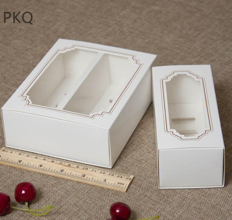 10pcs / lot Caja blanca Macaron con macarrones postre transparente ventana pastelería cajas de embalaje en 2 tamaños