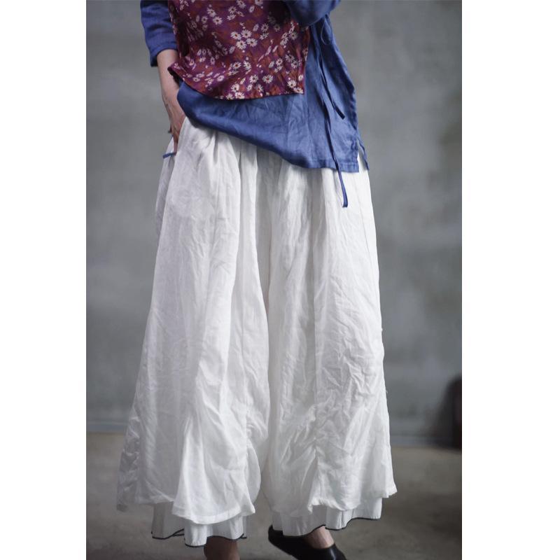 Frauen Ramie Frühlings-Sommer-elastische Taillen-Hosen Damen Jahrgang Patchwork plus Größe Hose Weibliche Hosen 2020