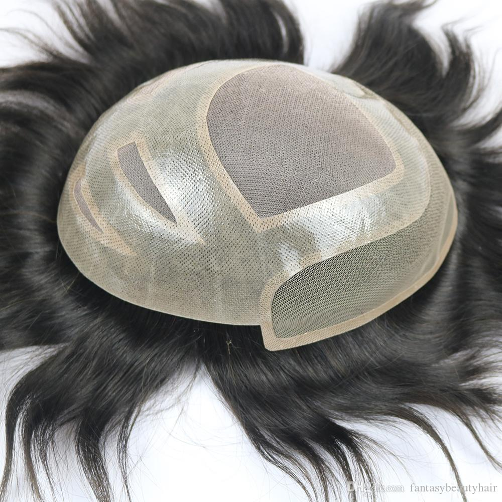 Men Swiss Lace Front Wig Toupee Human Remy Hair Replacement Prosthesis Hairpiece Wigs Wig Cap for White MEN