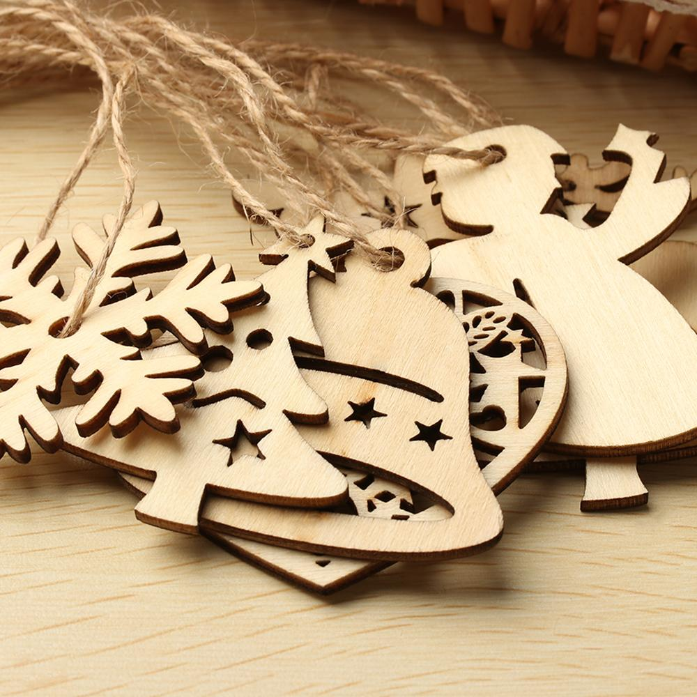 10PCS/Pack DIY Christmas Snowflakes Deer Tree Pattern Wooden Ornaments Christmas Party Decorations Xmas Tree Ornaments For Kids
