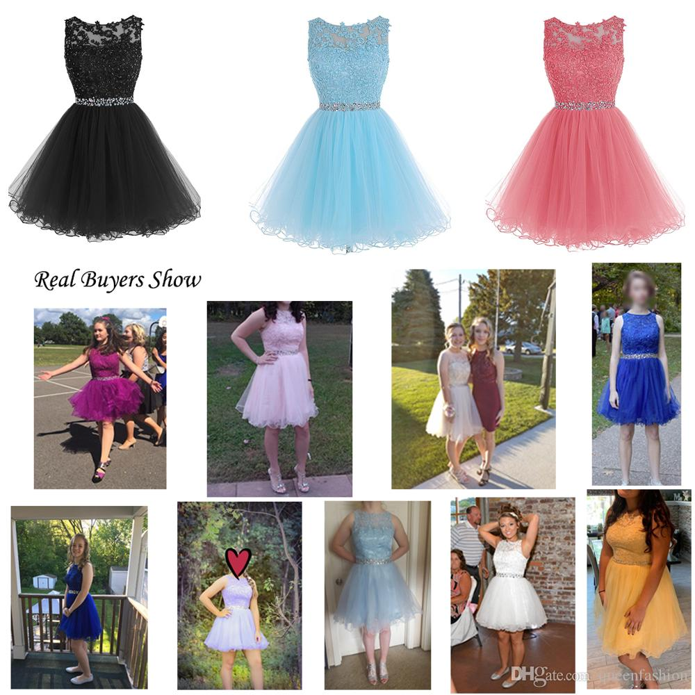 Sweet 16 Short Prom Dresses Lace Appliques with Crystal Beads Puffy Tulle Cocktail Party Dresses Little Black Graduation Homecoming Gowns