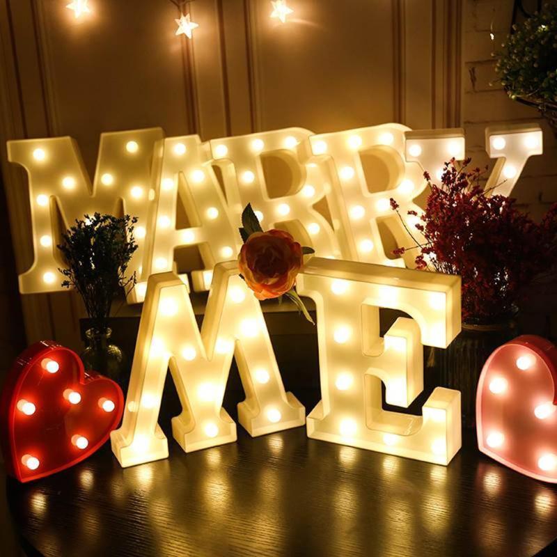Bateria presente fábrica de plástico DIY Letter LED Night White Light Início Outdoor Wedding Aniversário Dia dos Namorados Decoração de Natal Lâmpada