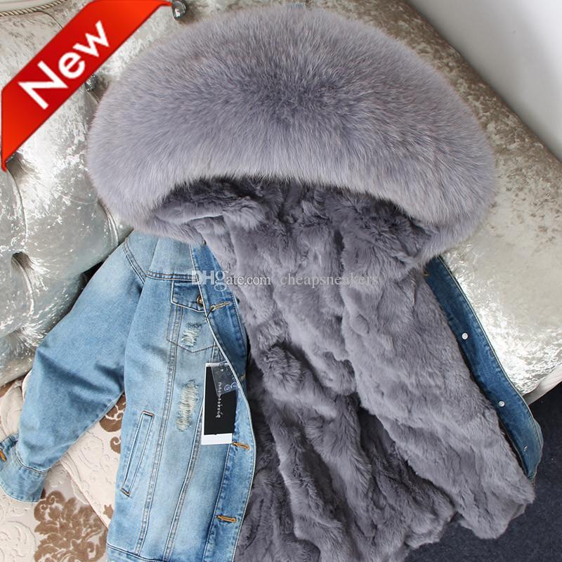 Kvinnors Down Parkas Jeans Jacka med Fasion Hål Real Rabbit Furs Liner Avtagbar och Smidig Fox Fur Collar
