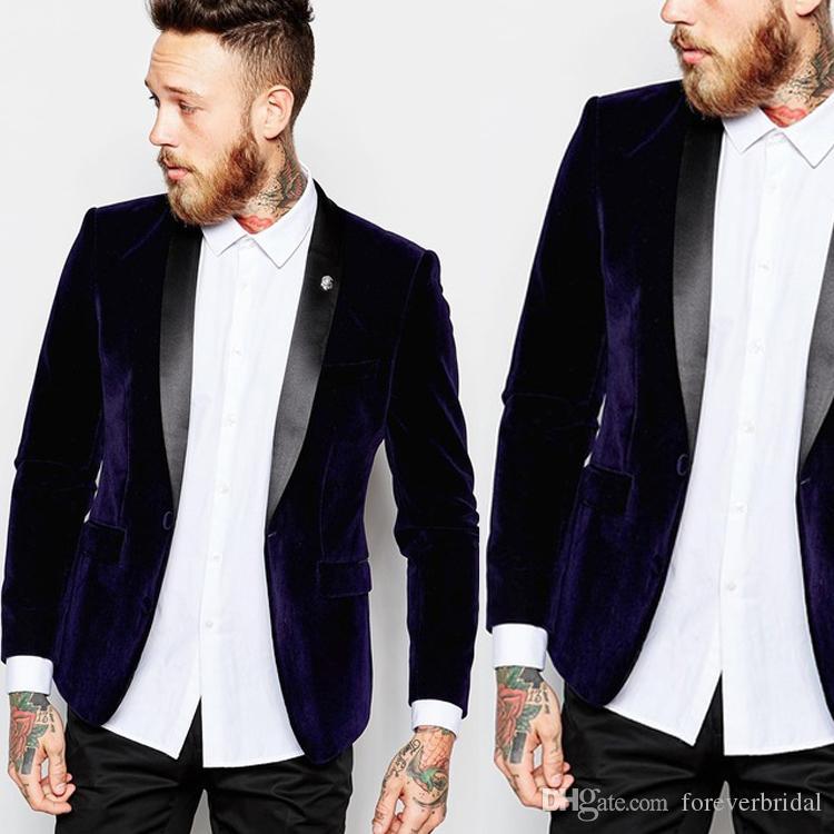 2019 New Purple Groomsmen Tuxedos De Mariage Châle Revers Seulement Veste Pour Marié Porter Beau Blazer Formel