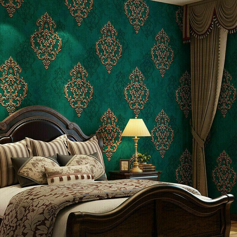10m 3d Vintage Elegant Gold Damask Wallpaper Embossed Textured Non