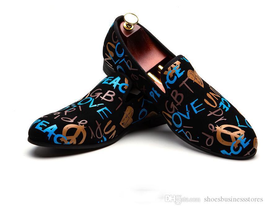 Nuovi stilisti di tendenza Uomini a punta Stampa moda Scarpe basse oxford mocassini Scarpe Uomo Graffiti Dress Scarpe da ballo da sposa zapatos hombre 38-46