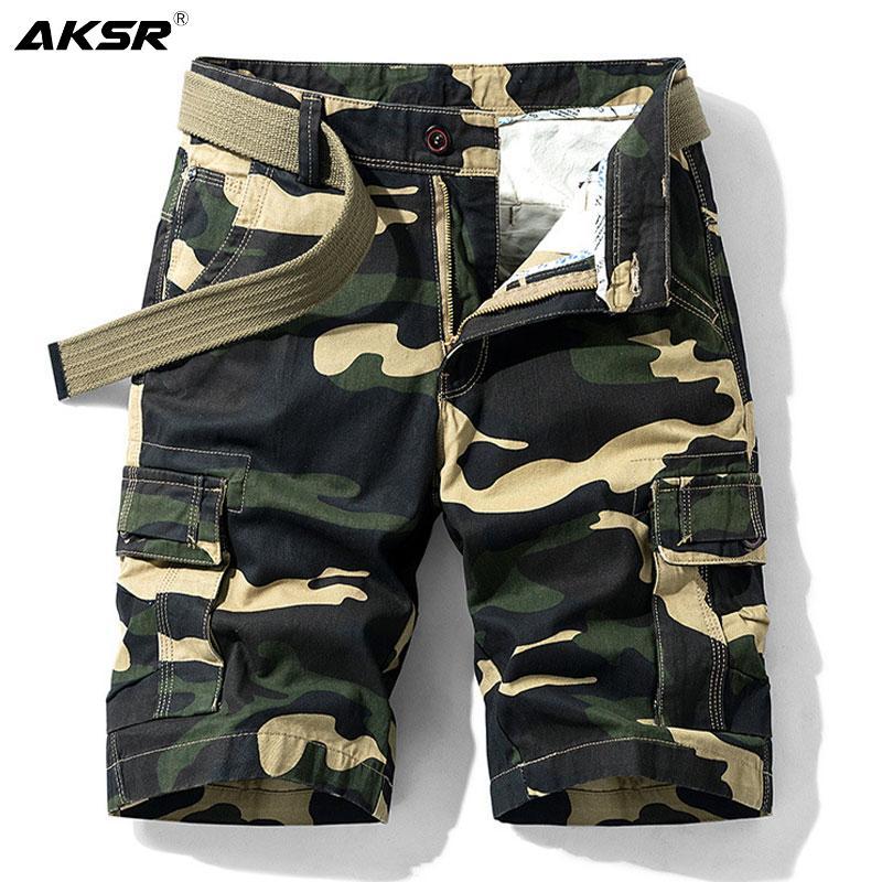 Tamaño de Verano Pantalones cortos Plus hombres de camuflaje militar Pantalones cortos de Carga para los hombres longitud de la rodilla algodón ocasional pantalones cortos pantalon corto CX200701