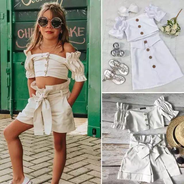 아기 소녀 여름 화이트 복장 2020 새로운 아기 키즈 이슬 어깨 퍼프 짧은 소매 셔츠 + 활 반바지 치마 2pcs 세트 A2262