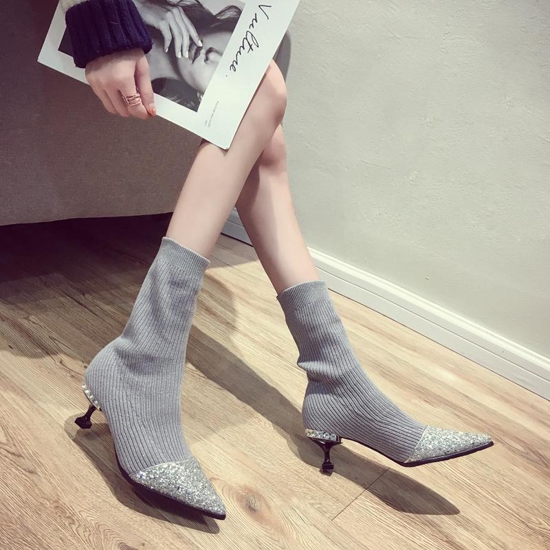 Sıcak Satış-Kış Kadın Boots Stretch Kumaş Orta Buzağı Boots İnce Yüksek Topuklar 5 cm Sivri Burun Bayanlar Çorap Seksi Botaş Mujer