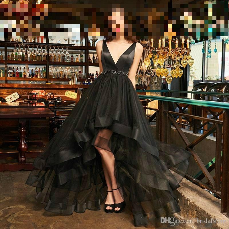 Elegante designer nero da sera abiti da ballo lunghi abiti da cerimonia arabi a-line con scollo a V tappeto rosso celebrità abiti da festa robe dress Cina