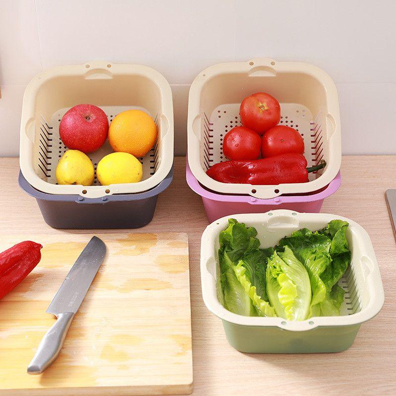 الفاكهة السلطانية غسل سلة الفاكهة البلاستيكية المنزلية تصريف سلة صينية مطبخ الخضروات غسل الفاكهة حوض YQ01579