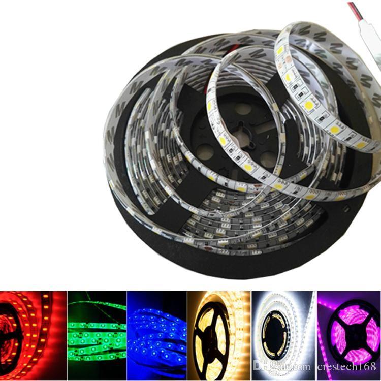 DC 12V 5M LED 백라이트 스트립이 아닌 방수 5050 SMD RGB LED 스트립 라이트 3 라인 1 고품질 램프 LED 테이프