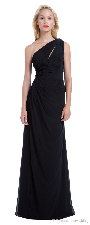 Grace Black Chiffon One Shoulder Junior Bridesmaid Dresses Bridesmaid Wedding Dresses Party Prom Dresses Custom Size 2-18 KF101430