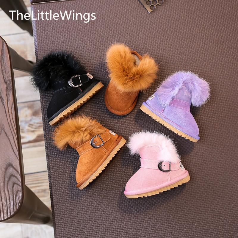 Inverno 2017 new Fashion scarpe per bambini chaussure super perfetto outdoor flat toddler girls stivali da neve coniglio capelli scaldapiedi Y18110304