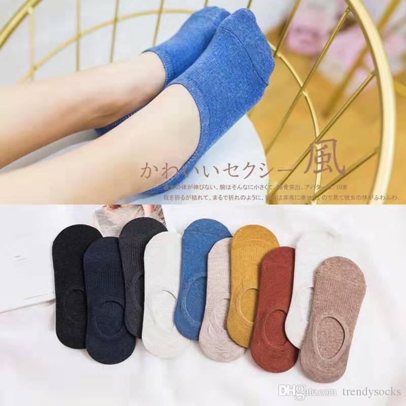 calzini colorati caramelle pantofola per calzini estivi in cotone designer di marca donna 10 colori nero bianco grigio giallo blu taglia 35-39 EUR 10 paia / lotto