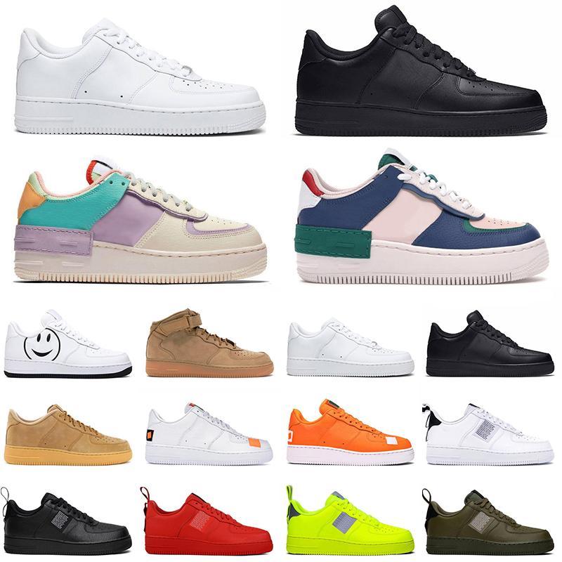Nike Air Force 1  shoes ONE 1 Utilitário Clássico Preto Branco Dunk Das Mulheres Dos Homens Sapatos Casuais vermelho one Sports Skateboarding High Low Cut Formadores de Sneakers