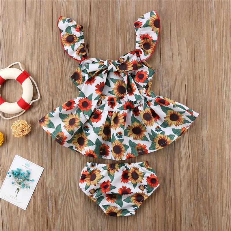 Nouveau-né vêtements de bébé filles ensemble 2018 New Bebes enfants fille mouche manches tournesol Tops Mini robe + bas 2 pcs bébé fille vêtements Set Y190515