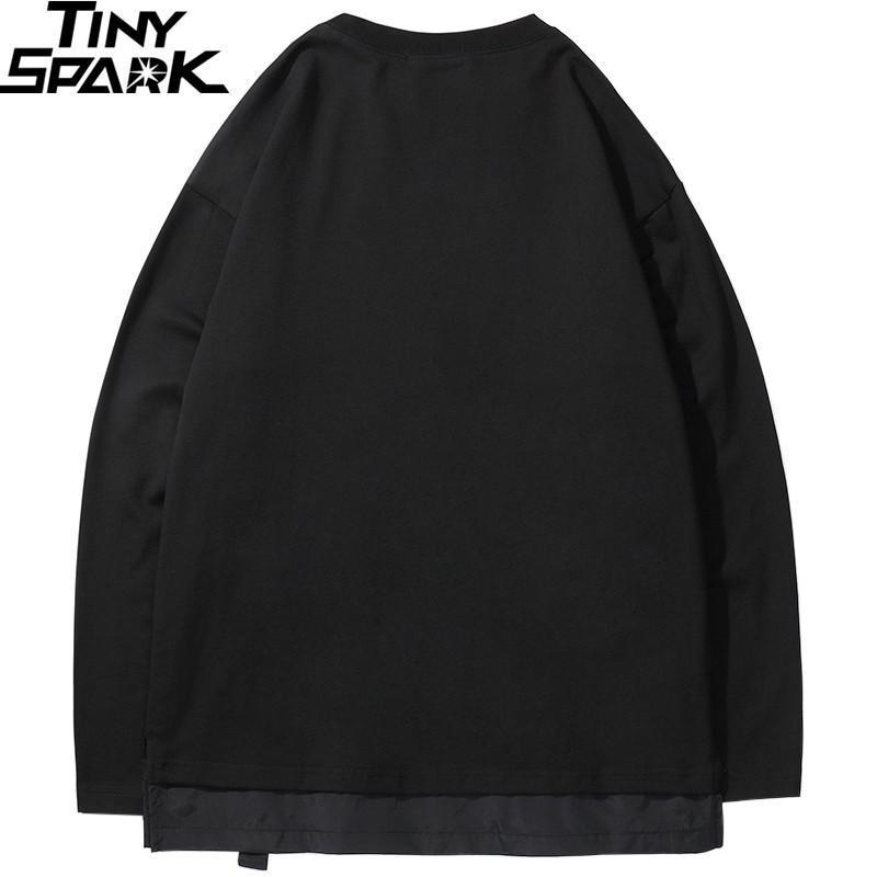 Harajuku Pullover Sweatshirt Men Hip Hop Streetwear Chinese Kanji Print Multi Pockets Hoodie Pullover Cotton Hiphop Loose