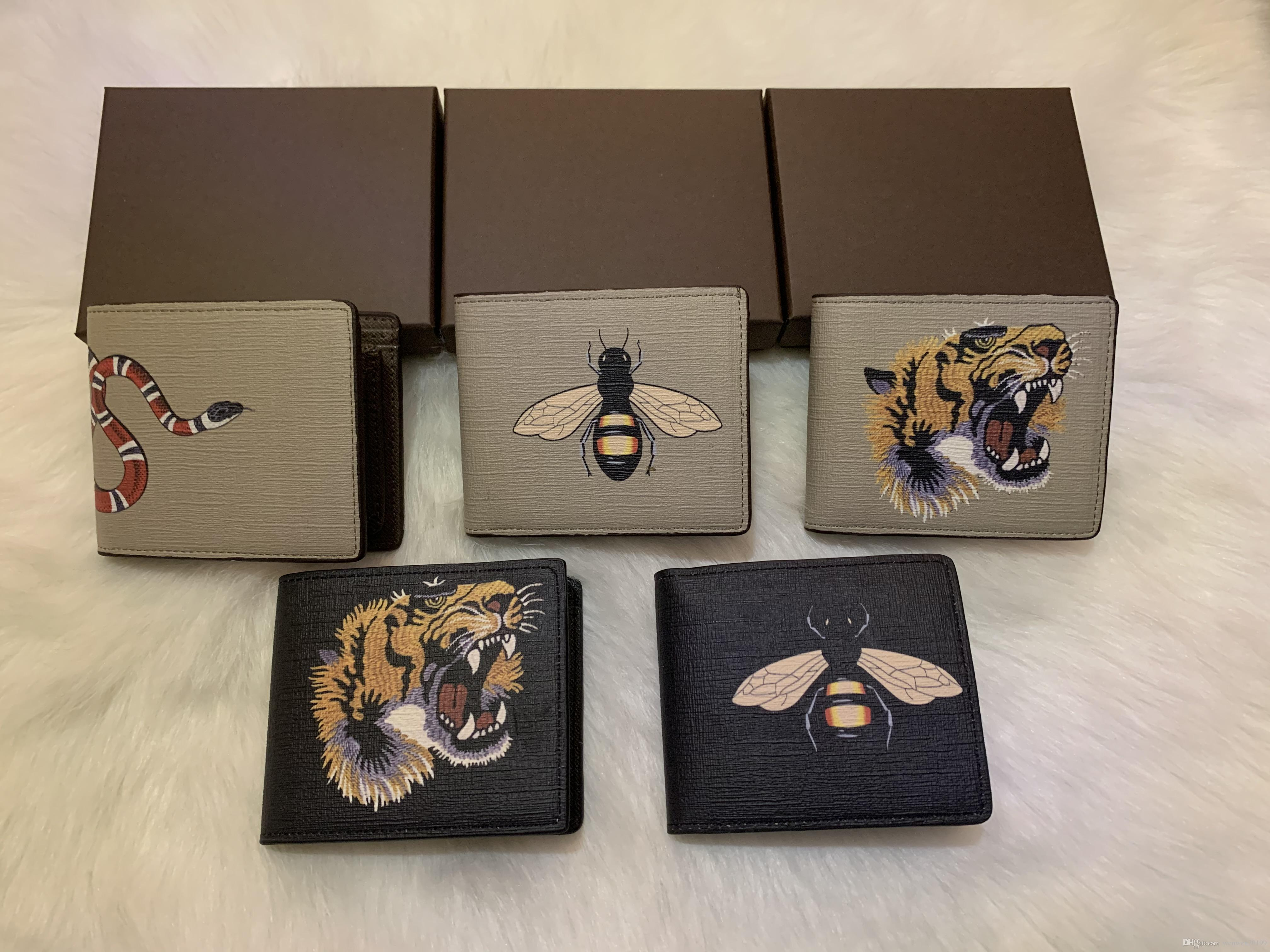 High quality men animal Short Wallet Leather black snake Tiger bee Wallets Women Long Style Purse Wallet card Holders no box