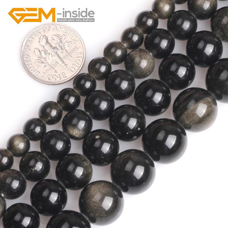 6/8/10/12MM GEM-inside 1.5mm-2mm Big Hole Natural Round Golden Black Obsidian Stone Loose Beads For Jewelry Making 15 Inches
