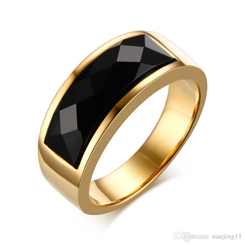 Cool Men Rings Stainless Steel Black Rhombic Cut Stone Rings Wedding Band Bague Homme 8MM Wide RC-203