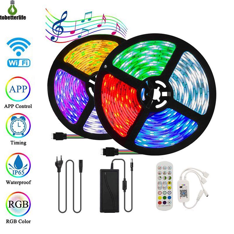 5m 10m Wifi Bluetooth Music 5050 RGB LED Streifen Licht Kit 24 Tasten Fernbedienung Wasserdicht flexibles LED-Bandband