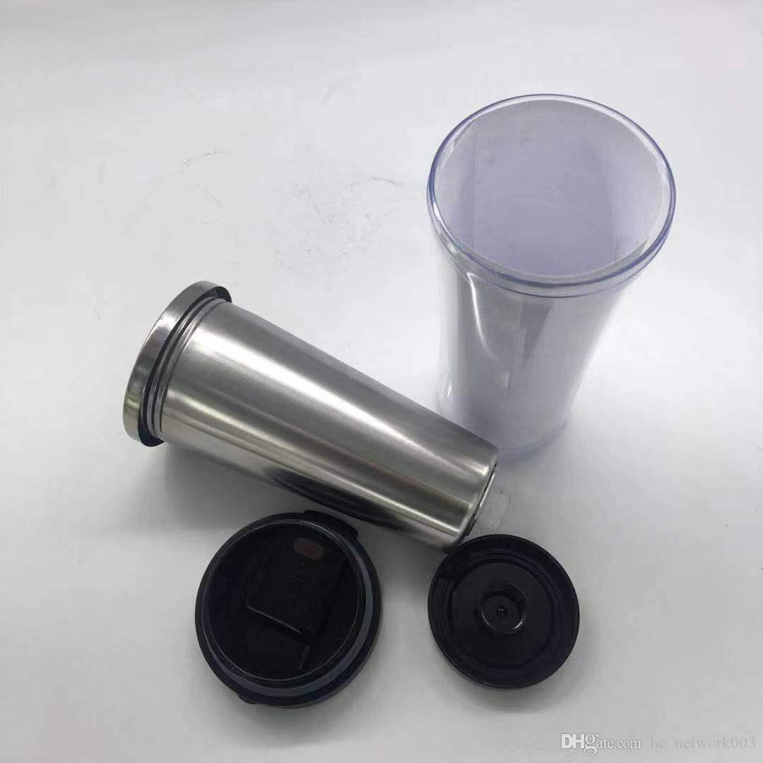 Горячие продажи нержавеющей сталь Стаканы пластиковая Над бутылка стала для вставки Жидкой воды Кофейных пив Путешествия Чашка с крышками Подарков