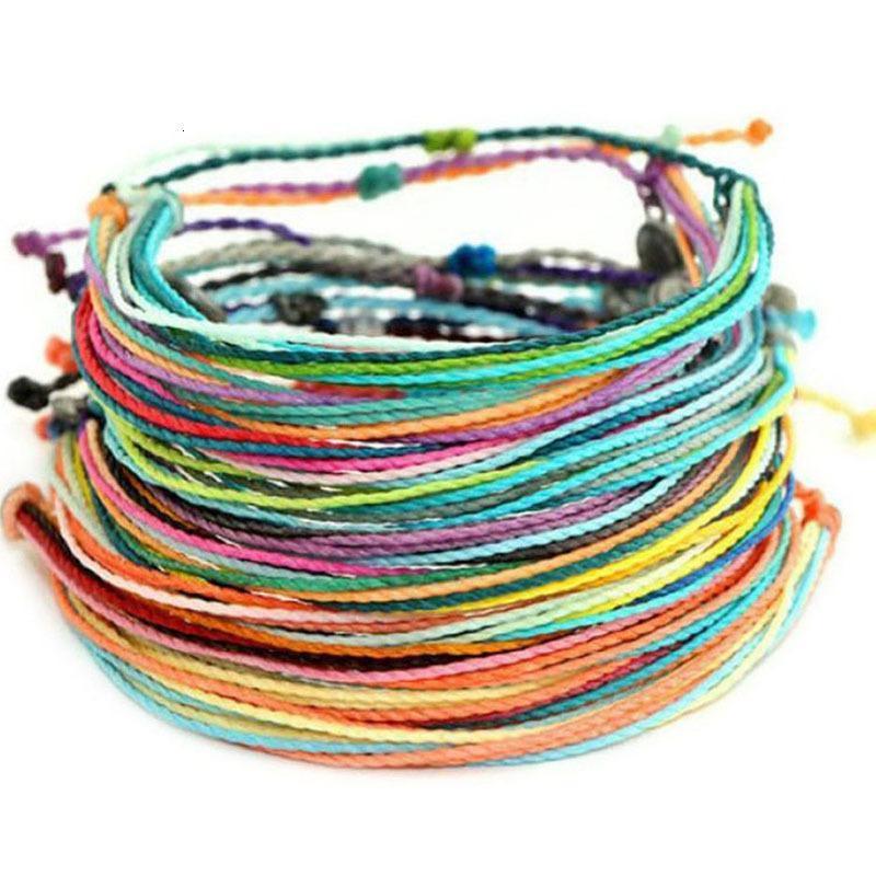 Manual de Taiwán adornos de cera cuerda pulsera de la armadura Más Color de la cuerda Pulsera de la amistad de la trenza