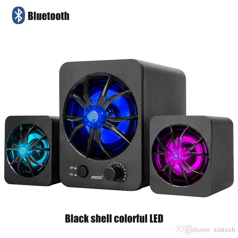 Bluetooth Version Built-in Colorful LED 2.1 3 Channel Subwoofer Speaker Rainbow Backlit USB Power Computer MP3 Cellphone Speakers D217